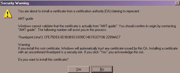 Certificate Manager - Certificate Generator - Security Warning