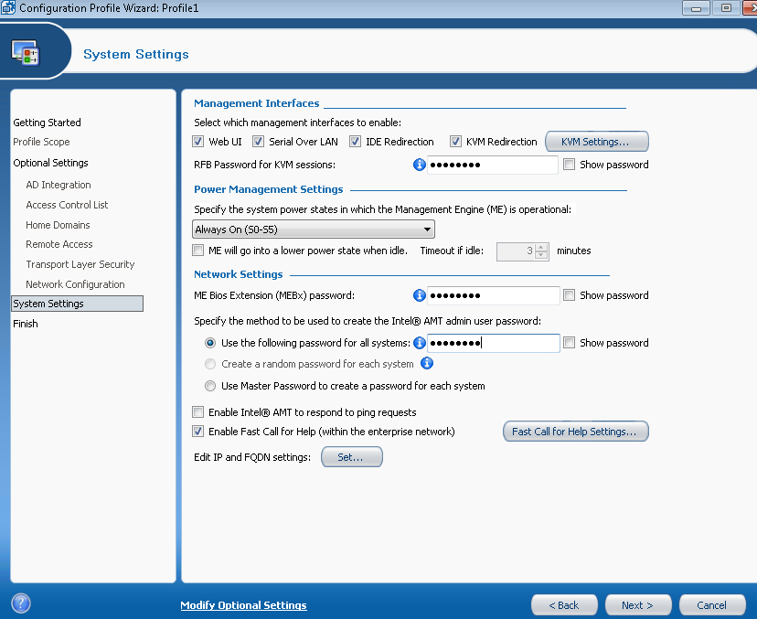 AMT guide17 Intel SCS 7.1 Profile1 System Settings