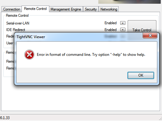 AMT TightVNC Viewer Commander error